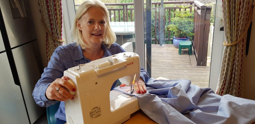 Ruth Bush making scrubs for Harrogate Hospital
